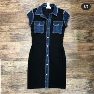 BAILEY 44 Black and Denim Shirt Dress